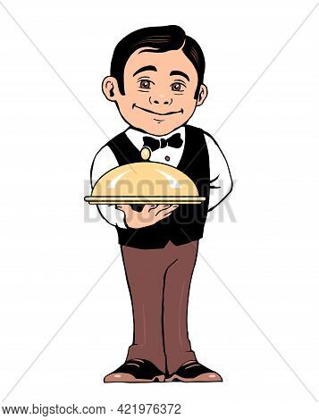 Illustration Of A Waiter With A Dish In Hand