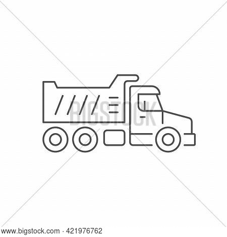 Dump Truck Line Outline Icon Isolated On White
