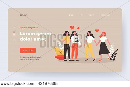 Happy Female Couples In Love. Lesbian Girls Enjoying Meeting Flat Vector Illustration. Homosexual Re