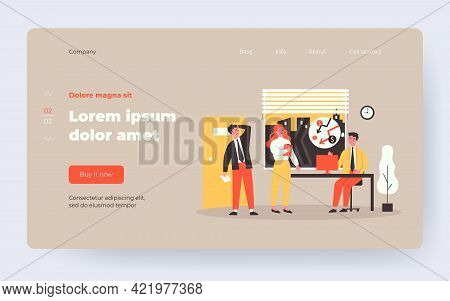 Businessman Thinking Of Financial Crisis. Sad Office People, Problems At Work Flat Vector Illustrati