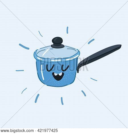 Vector Illustration Of Frying Pan, Dish, Recipe. Culinary Concept. Saucepan With Face On White Backg