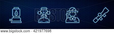 Set Line Hunter, Camping Lantern, African Tribe Male And Sniper Optical Sight. Glowing Neon Icon On
