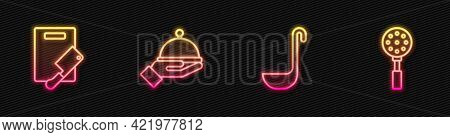 Set Line Kitchen Ladle, Cutting Board And Meat Chopper, Covered With Tray And Spatula. Glowing Neon