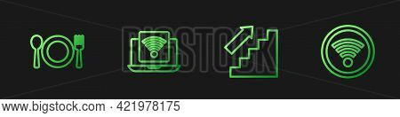 Set Line Stairs Up, Plate, Fork And Knife, Wireless Laptop And Wi-fi Wireless. Gradient Color Icons.