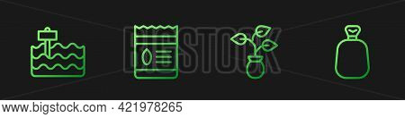 Set Line Plant, Garden Bed, Pack Full Of Seeds Of Plant And Full Sack. Gradient Color Icons. Vector