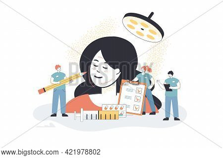Tiny Surgeons Examining Face Of Client. Cosmetic Procedure, Medical Persons With Checklist, Pills, S