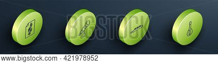Set Isometric Line Treble Clef, Microphone, Drum And Drum Sticks And Guitar Icon. Vector
