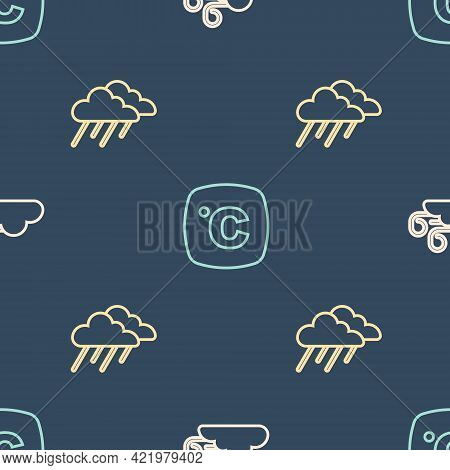 Set Line Windy Weather, Cloud With Rain And Celsius On Seamless Pattern. Vector