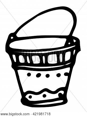 Retro Cartoon Icon With Black Doodle Bucket On White Background.vector Isolated Bucket. Hand-drawn D