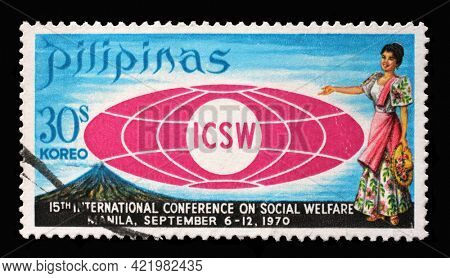 ZAGREB, CROATIA - SEPTEMBER 18, 2014: Stamp printed in Philippines shows International Conference on Social Welfare circa 1970