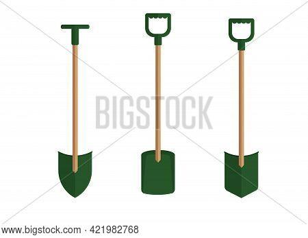 Illustration Of Several Types Of Shovels. Garden Tools