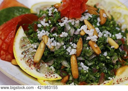 Fresh Green Parsley Salad With Tomatoes And Pine Nuts, Lebanese Food