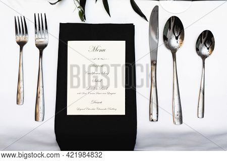 Place Setup For Formal Black And White Social Dinner