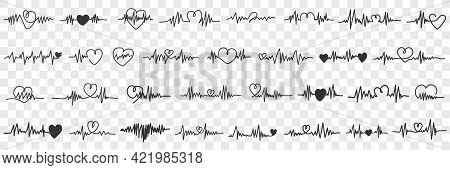 Love Cardiogram Collection Doodle Set. Collection Of Hand Drawn Various Cardiograms Pictures Medical
