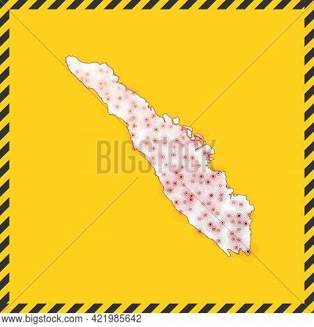 Sumatra Closed - Virus Danger Sign. Lock Down Island Icon. Black Striped Border Around Map With Viru