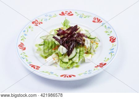 fresh salad on white background