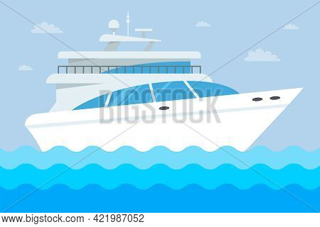 White Expensive Yacht On The Water. Flat Vector Illustration.