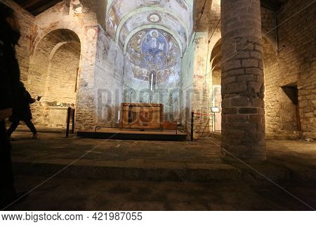 Lleida, Spain, May 1, 2020 - Fresco Paintings Pantocrator In Church Of Sant Climent De Taull. Catala
