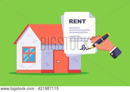 Sign A Document For Renting A Residential Building. Flat Vector Illustration.
