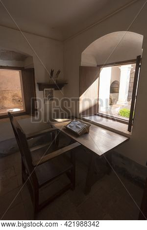 Tarragona, Spain, May 1, 2020 - Monk Cell On Old Monastery Cartoixa Escaladei Ruins In Catalonia. Re
