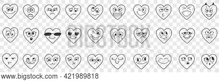 Heart Facial Expressions Doodle Set. Collection Of Hand Drawn Various Happy And Sad Expressions On H