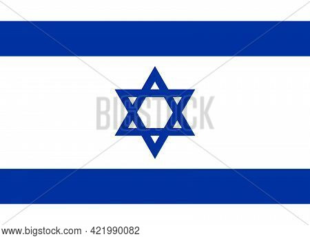 Official National Flag Of Israel. Flag Of The State Of Israel With Correct Proportions And Colors. F