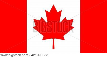 Official National Flag Of Canada, In Correct Proportions And Colors. Red Maple Leaf On Red White Red