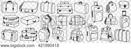 Suitcase Traveling Luggage Doodle Set. Collection Of Hand Drawn Various Suitcases Of Different Shape