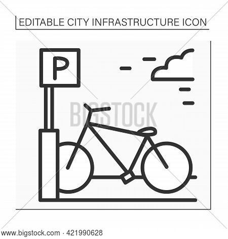 Bicycle Parking Rack Icon. Parking Bicycles Area. Device To Which Bicycles Can Be Securely Attached.