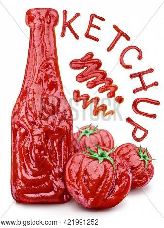 Conceptual image - a bottle of ketchup and whole tomatoes are drawn with ketchup on a white background. Also there is the inscription