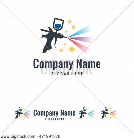 Magic Painting Logo Designs Template Vector, Art Logo Template, Spray Gun Painting Logo