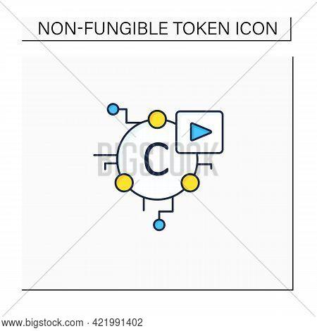 Cryptomedia Color Icon. Digital Medium Includes Graphics, Audio.video, Plain Text, Hyperlinks.univer