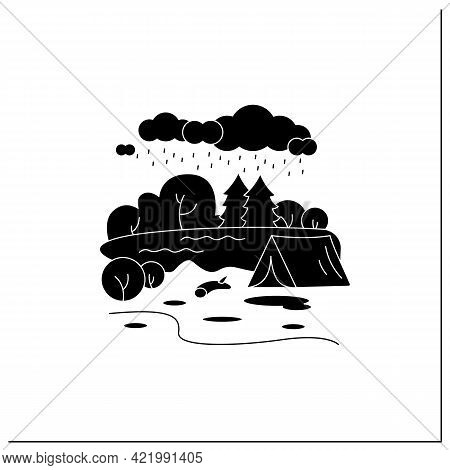 Camping Glyph Icon.tent On River Landscape Background. Bad Weather. Adventure Tourism. Green, Eco To