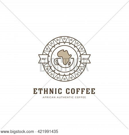 Ethnic African Coffee Logo In Round Badge Icon Style With Tribe Ethnic Pattern Decoration