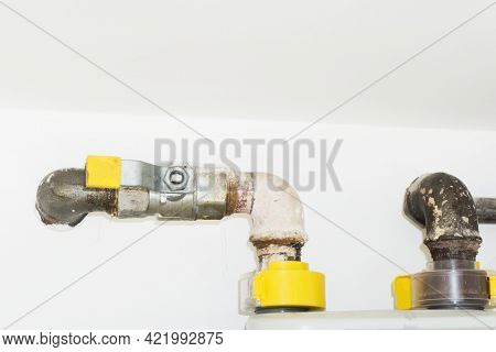 Gas Pipe Background. Gas Installation Valve. Yellow Color Gas Valve.