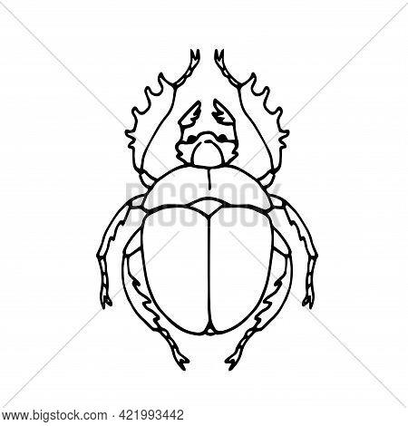 Dung Beetle, Scarabaeus, Ancient Egypt Sacred Symbol, Vector Illustration With Black Ink Contour Lin