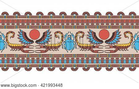Horizontal Seamless Pattern, Ancient Egyptian Decorative Ornament With Scorpions And Scarabs, Color