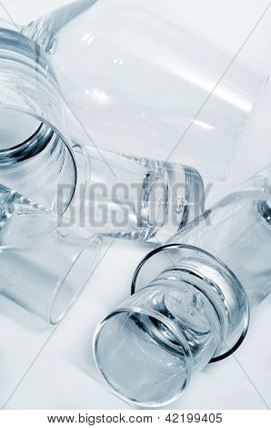 closeup of some different empty glasses in a club