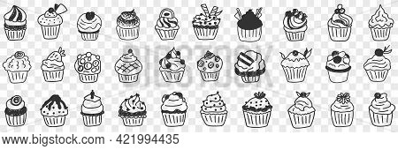 Tasty Cupcakes Dessert Doodle Set. Collection Of Hand Drawn Various Cupcakes Homemade With Cream Cus