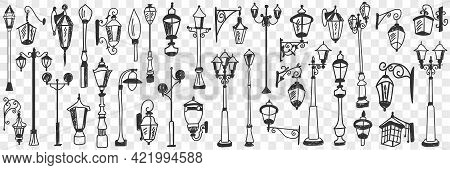 Outdoors Vintage Lamps Doodle Set. Collection Of Hand Drawn Various Shapes And Styles Of Street Lamp