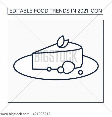 Cheesecake Line Icon. Basque Burnt Dessert. Crustless Cheesecake. Food Trends Concept. Isolated Vect