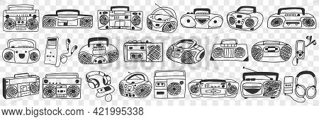Old Tape Recorder Doodle Set. Collection Of Hand Drawn Various Retro Styled Tape Recorder For Listen