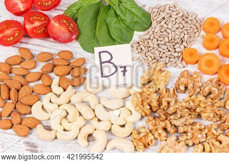 Healthy Products And Ingredients As Source Vitamin B7, Dietary Fiber And Natural Minerals, Concept O