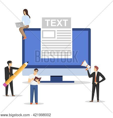 Blogging, Writing Texts, Groups Of People Write Text Characters On Computer. Vector Illustration. Ve