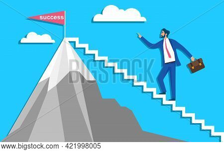 Career Ladder, A Man In A Business Suit Climbs Up The Career Ladder. Vector Illustration. Vector.