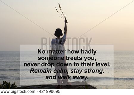 Inspirational Quote - No Matter How Badly Someone Treats You, Never Drop Down To Their Level. Remain