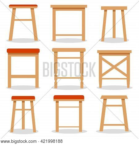 Stool, Set Of Wooden Stools On A White Background. Vector Illustration. Vector.