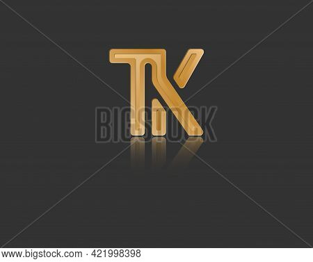 Gold Stylized Lowercase Letters T And K With Reflection Connected By A Single Line For Logo, Monogra