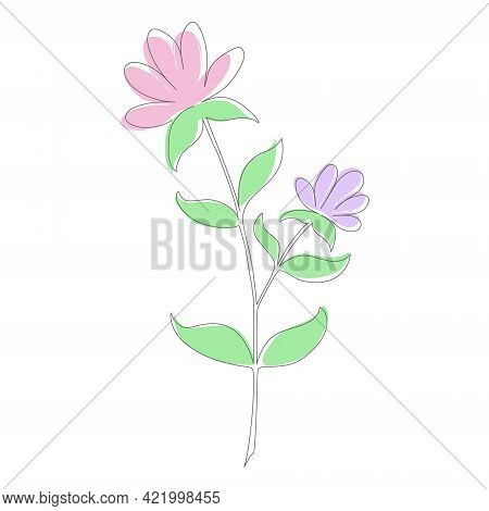 Flower In The Style Of A Continuous Line For A Thematic Design. Flat Style.