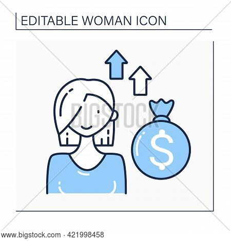 Venture Female Capitalist Line Icon. Private Equity Financing Provided By Venture Capital Firms Or F